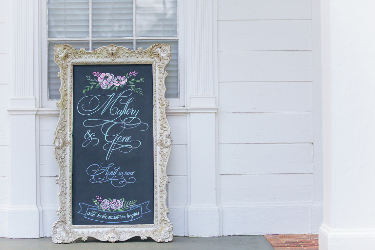beautiful sign at bride and groom wedding