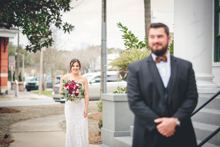 Sweet First Look between Bride and Groom